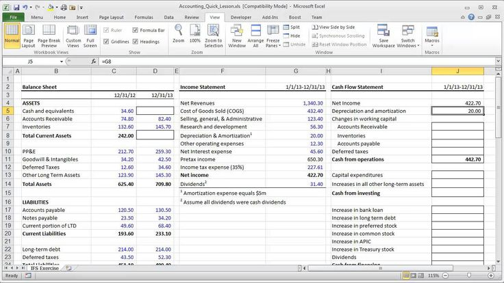 Advanced Financial Statement Analysis templates in docs and excel - asset and liability statement template