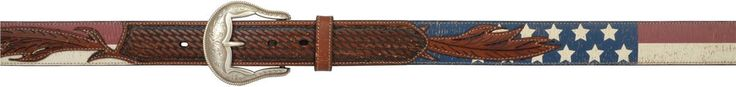 3D Belt Mens Western Leather Distressed Feather Flag Vintage Tan Belt 8911