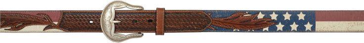 3D Belt Mens Western Leather Distressed Feather Flag Vintage Tan Belt 8911