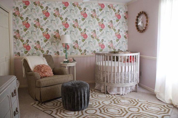 baby girl nursery- Anthropologie peony watercolor wallpaper - Restoration Hardware round crib