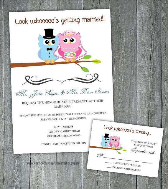 Printable Wedding Invitation and RSVP card - Owl Wedding Invitation on Etsy, $25.00