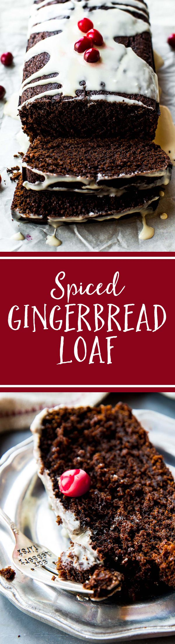 Spiced gingerbread loaf that's soft, moist, and intensely flavored like the holidays with molasses and ginger! Recipe on sallysbakingaddiction.com #Kuchen #Backen