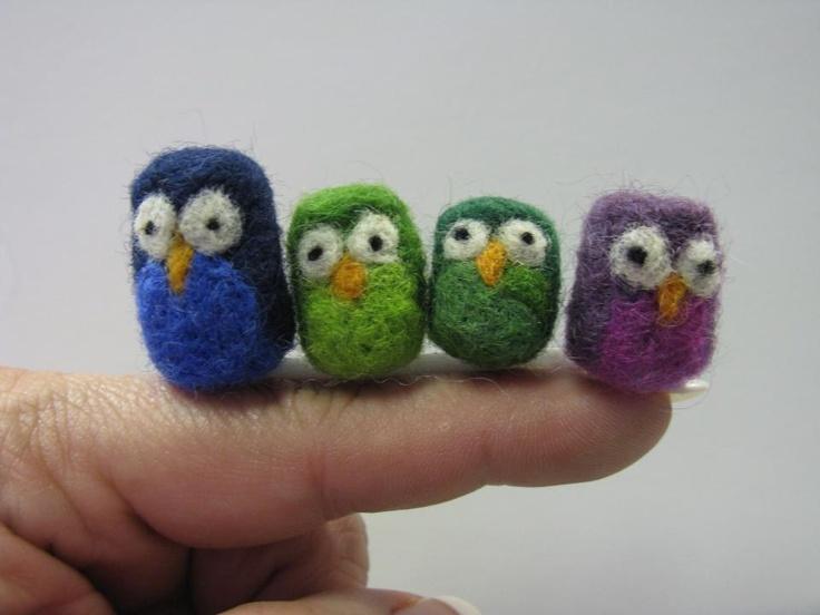 4 little owls: Little Owls, Felt Crafts, Fav Pins, Bully Felt, Felt Owls, Felt Inspirations, Fabulous Felt