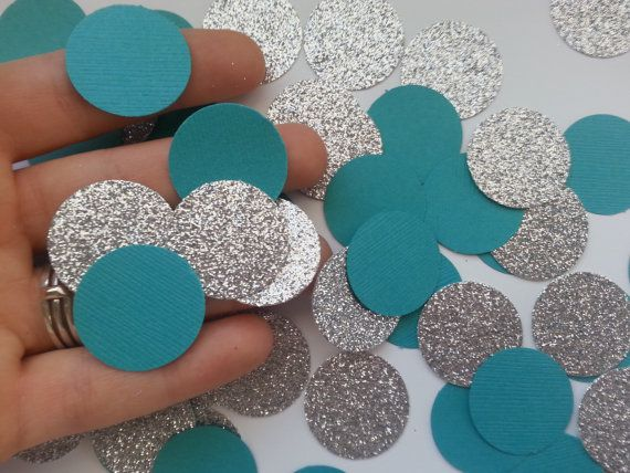 Teal And Silver Glitter Party Confetti   Circle Confetti   Die Cut   Aqua    Decor. Teal Wedding DecorationsTable DecorationsTeal ...