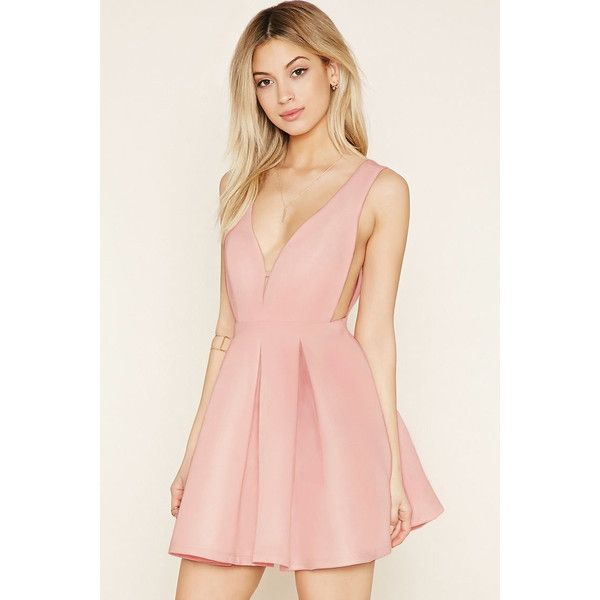 Forever 21 Women's  Deep V-Neck Pleated Mini Dress (89.910 COP) ❤ liked on Polyvore featuring dresses, forever 21, pink sleeveless dress, forever 21 dresses, cocktail mini dress and short mini dress