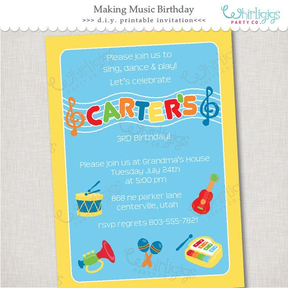 #MusicParty Printable #Invitation fun toddler instruments for your little music maker #party!