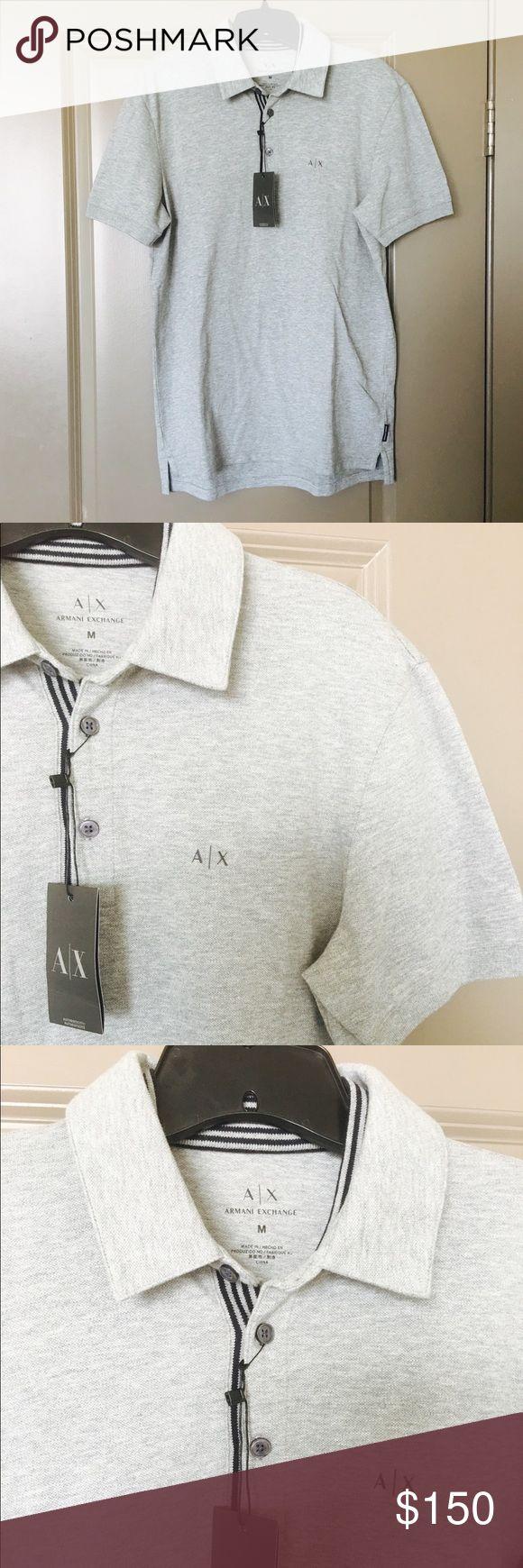 SALEArmani Exchange Polo Armani Exchange men's size L gray polo. Inside striping detail on the collar. Brand new with tags. Armani Exchange Shirts Polos
