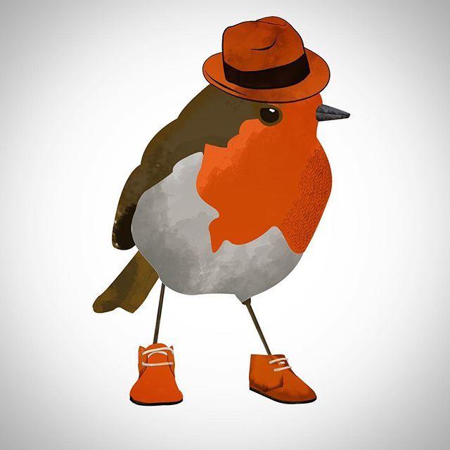 Me gustan los petirrojos.  .  .  #instabird #ilustradoraschilenas #illustration #ilustracion #kidsillustration #digitalart #photoshop #bird #birdy #makestuff #drawn #drawing #dibujo #chile #santiago