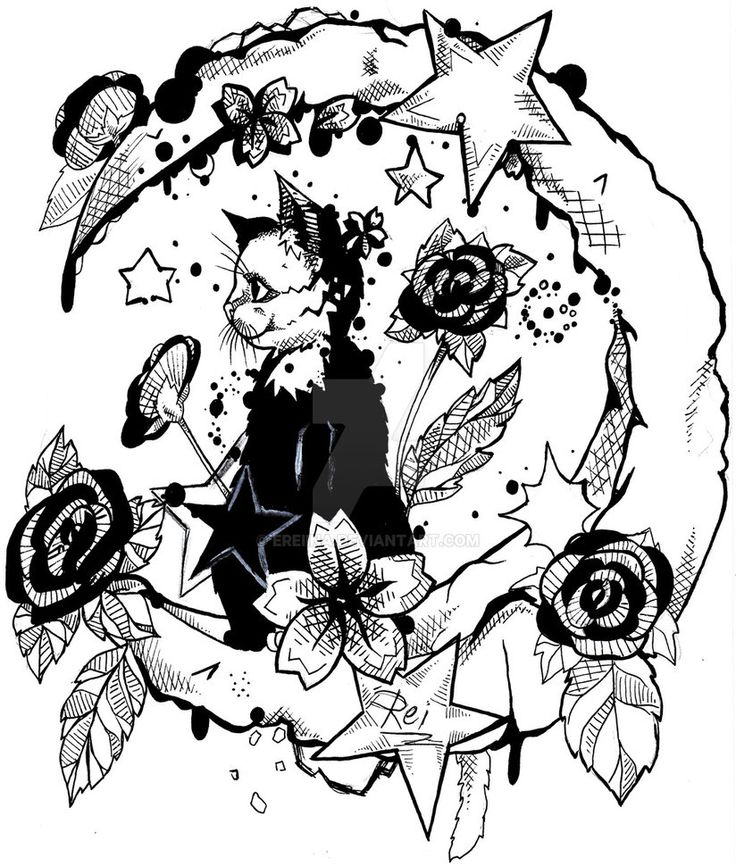Kitty the moon and the roses by eREIina.deviantart.com on @DeviantArt