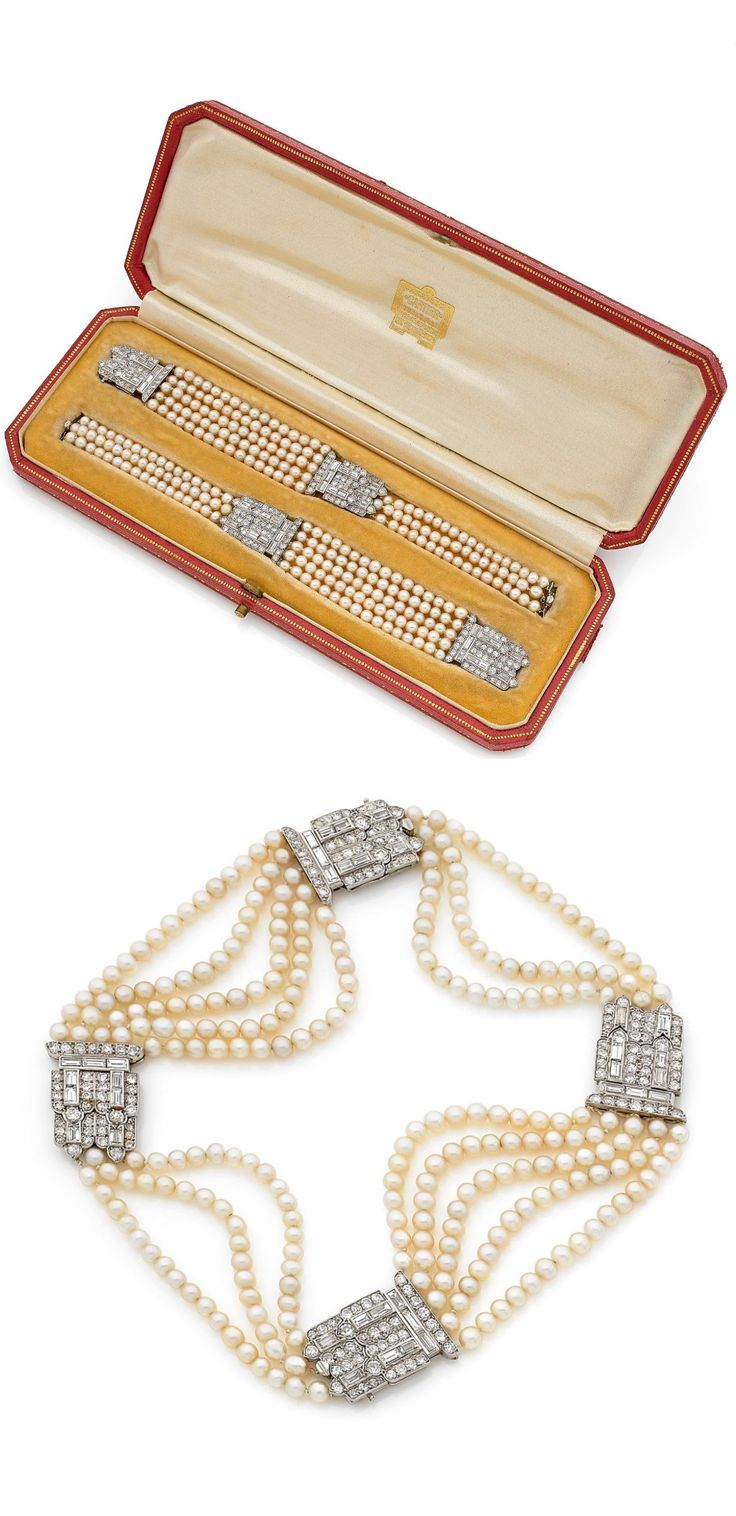 Cartier - A pair of Art Deco bracelets, circa 1925. Each designed as three and five rows of fine pearls, interspersed with two stylised platinum motifs set with diamonds. Can be joined together to form a choker. One signed Cartier Ld London, and numbered. #Cariter #ArtDeco #bracelet #choker