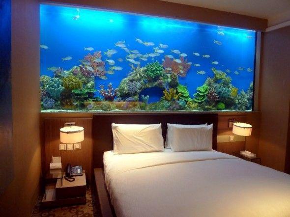 100 Ideas Integrate Aquarium Designs In The Wall Or In The Living Room Wall Aquarium Fish Tank Wall Unique Bed Design