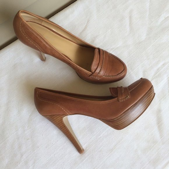 Nine West Cognac Leather Heels Great condition! Nine West Shoes Heels
