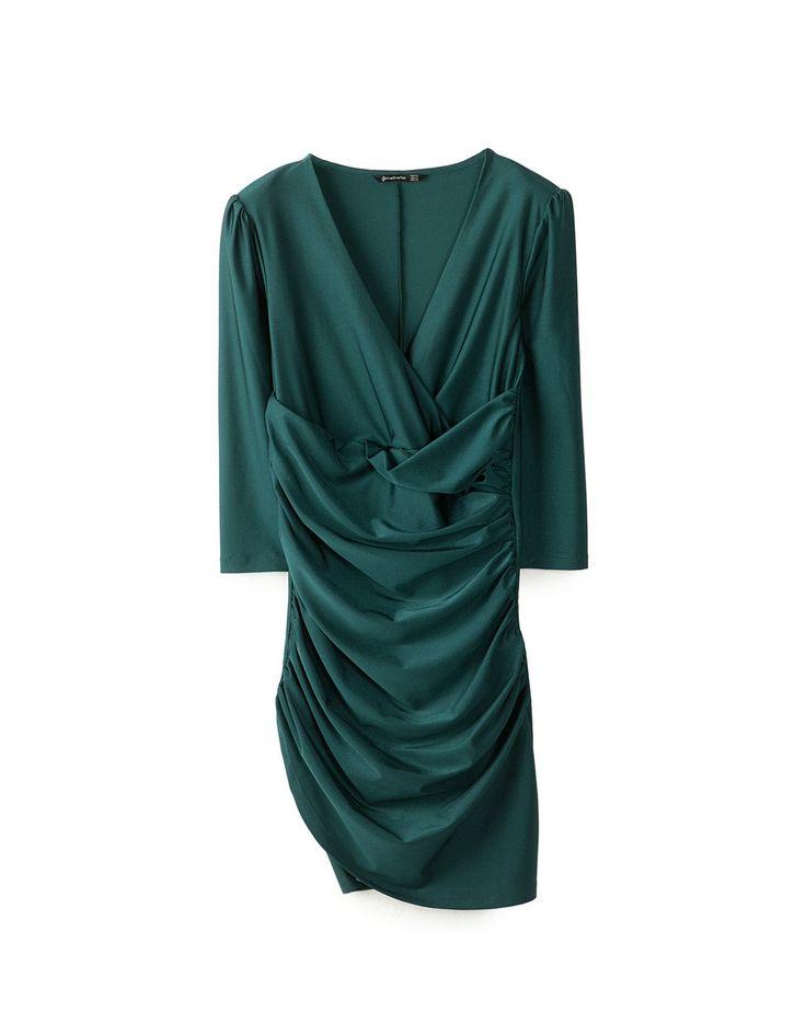 Vestido drapeado corto - Vestidos 25,95 EUR | Stradivarius