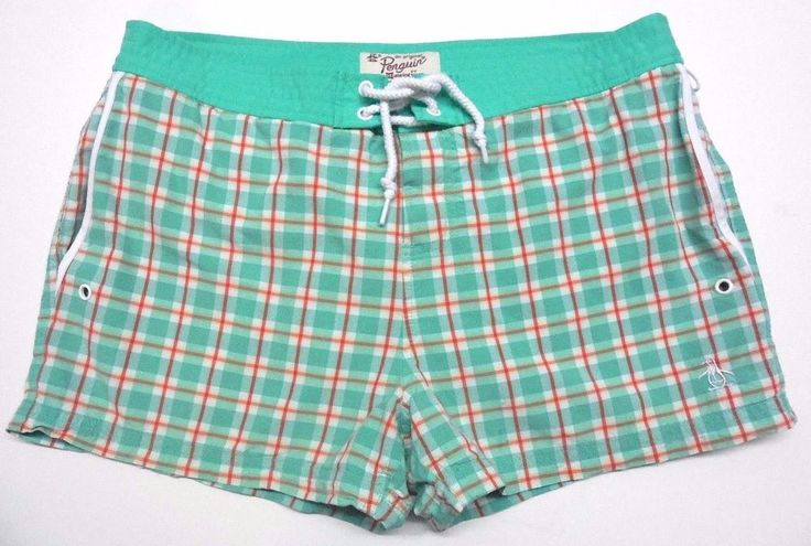 Munsingwear Men's Swim Trunks Bathing Suit Board Shorts 34 Aqua Off White Plaid #Munsingwear #Trunks