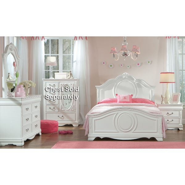 Jessica white traditional 6 piece twin bedroom set - White bedroom furniture for girl ...