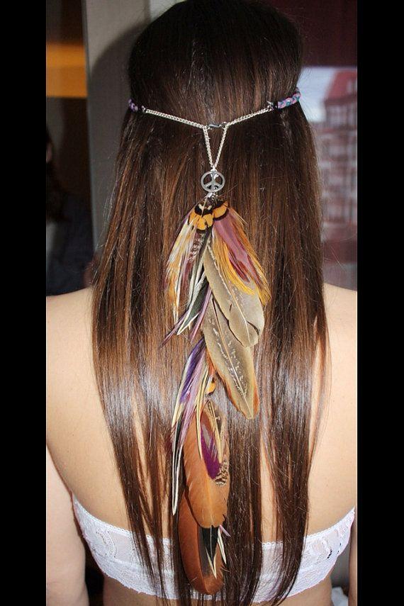 Lilac Fusion hippie feather headband van SANDRANJAfeathers op Etsy