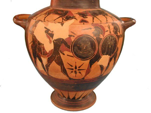 Archaic Black Figure Vase Showing Warriors Hoplites Black Figure Pottery Painting Is One Of