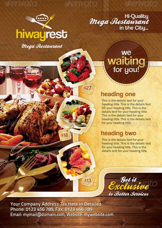 Food Brochure Restaurant Trifold Brochure Design A Collection Of