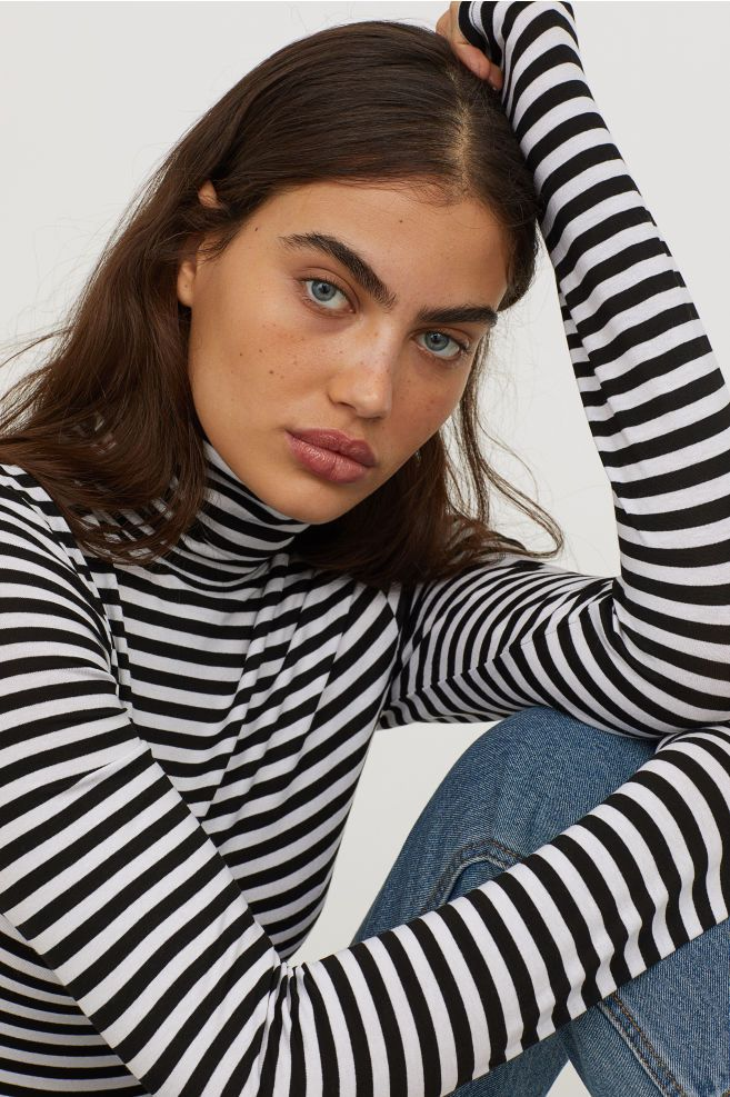 1835080e1751b Jersey Turtleneck Top - Black white striped - Ladies
