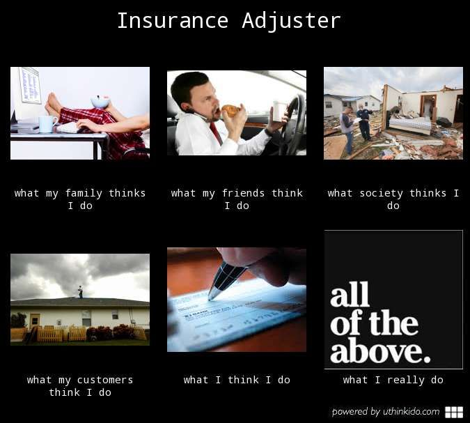 Insurance adjuster, What people think I do, What I really ...