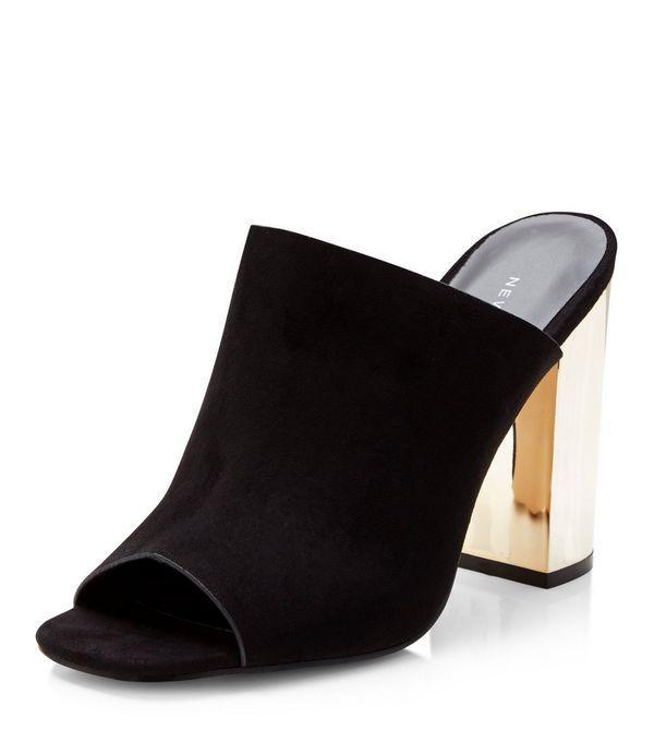 Black Suedette Peeptoe Metal Block Heel Mules  | New Look