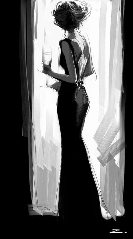 Unknown title and artist, but oh so evocatively chic. It's as though she stepped right out of a classic film to say ... bonjour, fenêtre.