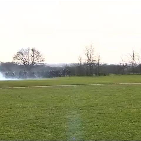 Cannon salute Richard III at Bosworth a few moments ago #RichardReburied