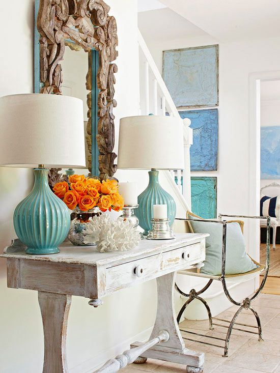 I love how different shades of blue were added to this white room.