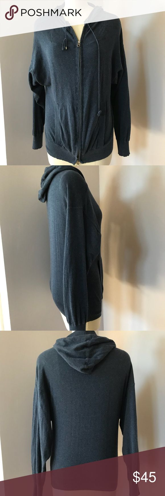 Haute Hippie blue lightweight zip up size S Haute hippie nude. Blue color. Size S. In good used condition. The ties have knots that could probably come undone. No trades please. Haute Hippie Tops Sweatshirts & Hoodies