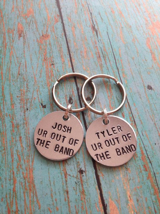 """Twenty One Pilots """"Ur out of the band"""" Matching Hand Stamped Key Chains"""
