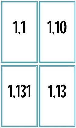 Un petit jeu très basique de bataille pour travailler la comparaison de nombres décimaux. On y joue comme dans une bataille classique, c'est à dire que la plus forte carte l'emporte. En…