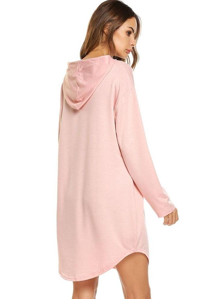 Casual Solid Color Irregular Hooded Pocket Women Sweatshirts at Banggood