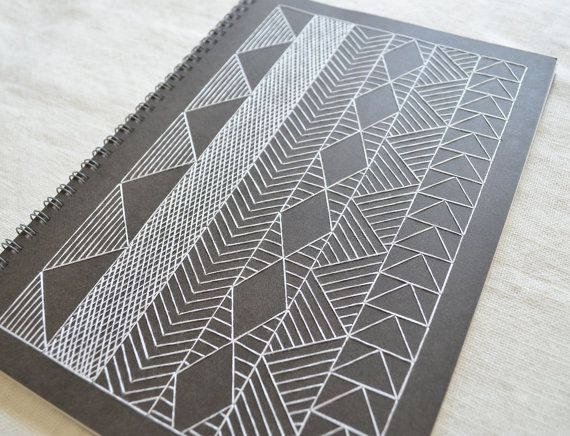Notebook Cover Pattern : Large african inspired notebook geometric embroidered