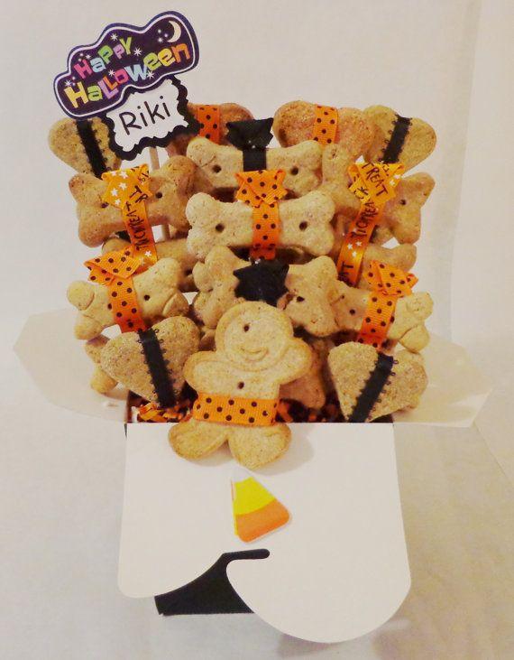 Halloween dog treat gift basket. Custom treat baskets for pets. treatworthypet.com