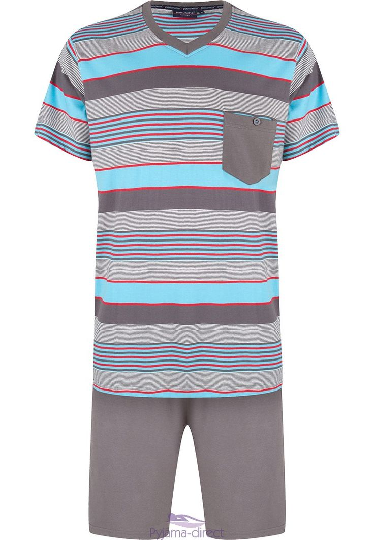 "Be comfortable & a little sporty looking when you relax day or night, in this Pastunette for Men grey & blue ""mixed stripes"" cotton short set"