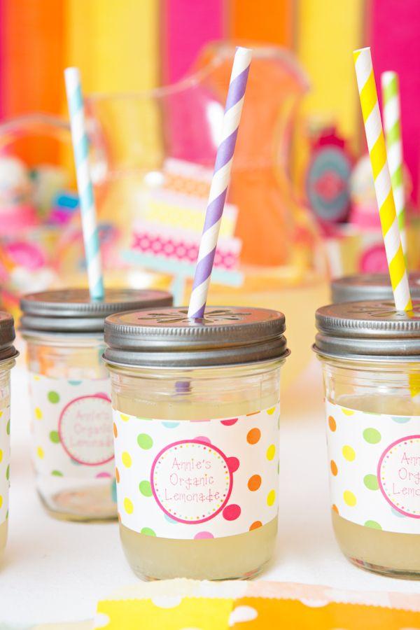 Sweet Shoppe Birthday Party - CUTEST lemonade jars!: