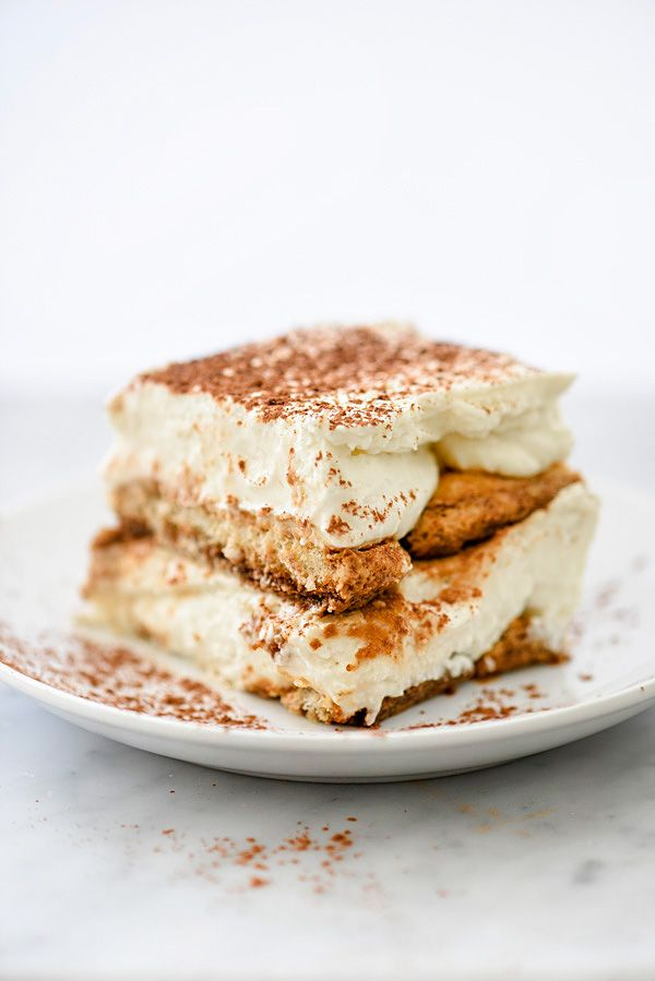 This classic Italian dessert of ladyfingers dipped in espresso and Kahlua is layered with a mascarpone custard lightened up with fluffy whipped cream.