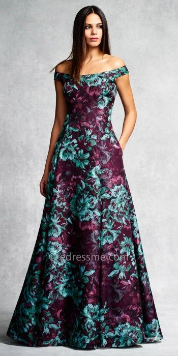 Off The Shoulder Floral Ball Gown By Aidan Mattox Edressme New
