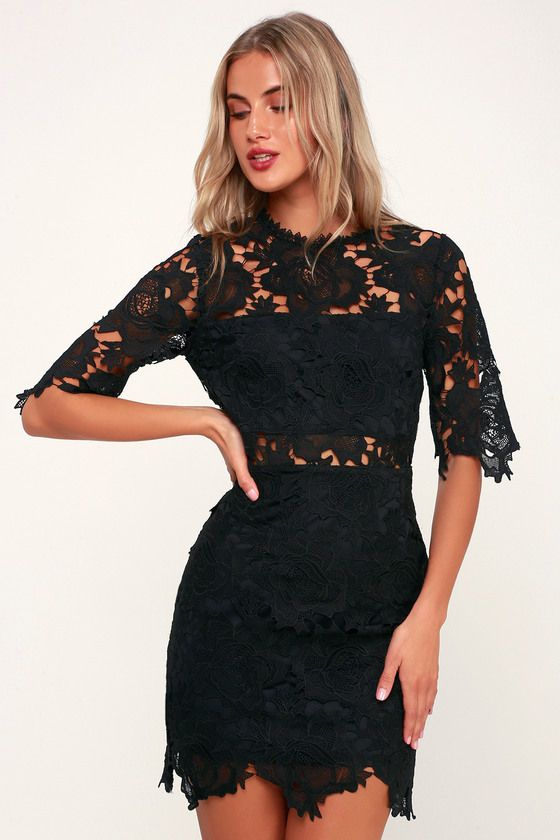 8a24a3531545df You deserve nothing but the best, and the Lulus A Fine Romance Black Lace  Sheath Dress can provide just that! Lace sheath dress with a chic two-piece  look.
