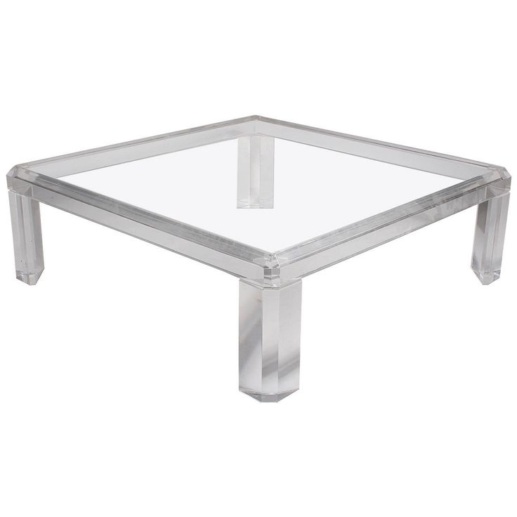 Karl Springer Style Square Lucite Coffee Table