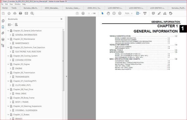 Polaris Scrambler Xp 850 2011 2013 Service Manual Manual Pdf Download Scrambler