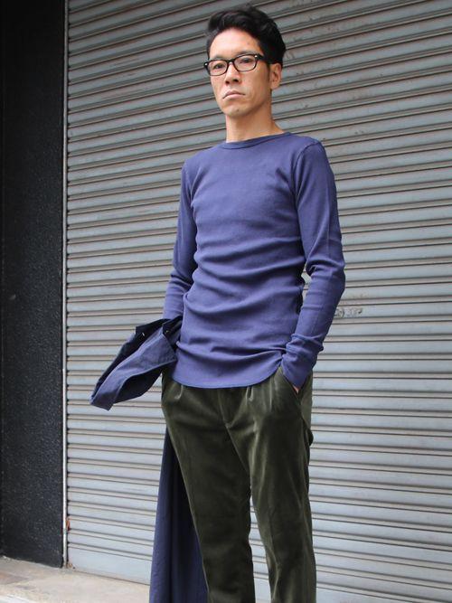 度詰ワッフルクルーネックロング長袖カットソー【MADE IN JAPAN】『日本製』 / Upscape Audience - 【 Audience 】