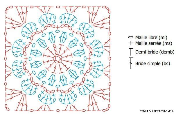 Вязание крючком. Цветочный чехол для очков. Схема (4) (606x394, 192Kb)