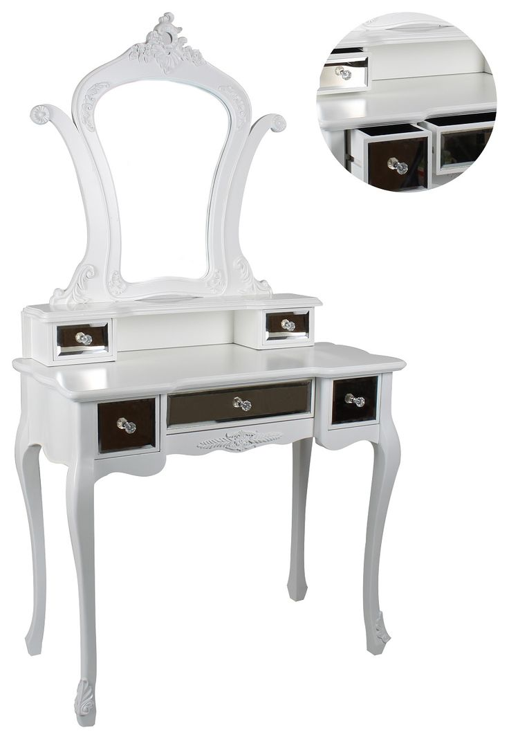 Elegant set of two #mirrored #boudoir in #white color with #mirror. www.inart.com