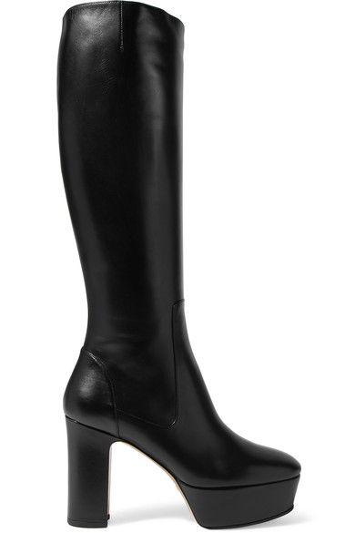 Gucci - Leather Platform Knee Boots - Black - IT37.5
