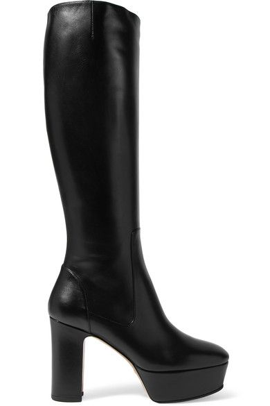 Heel measures approximately 105mm/ 4 inches with a 40mm/ 1.5 inches platform Black leather Zip fastening along side Made in Italy