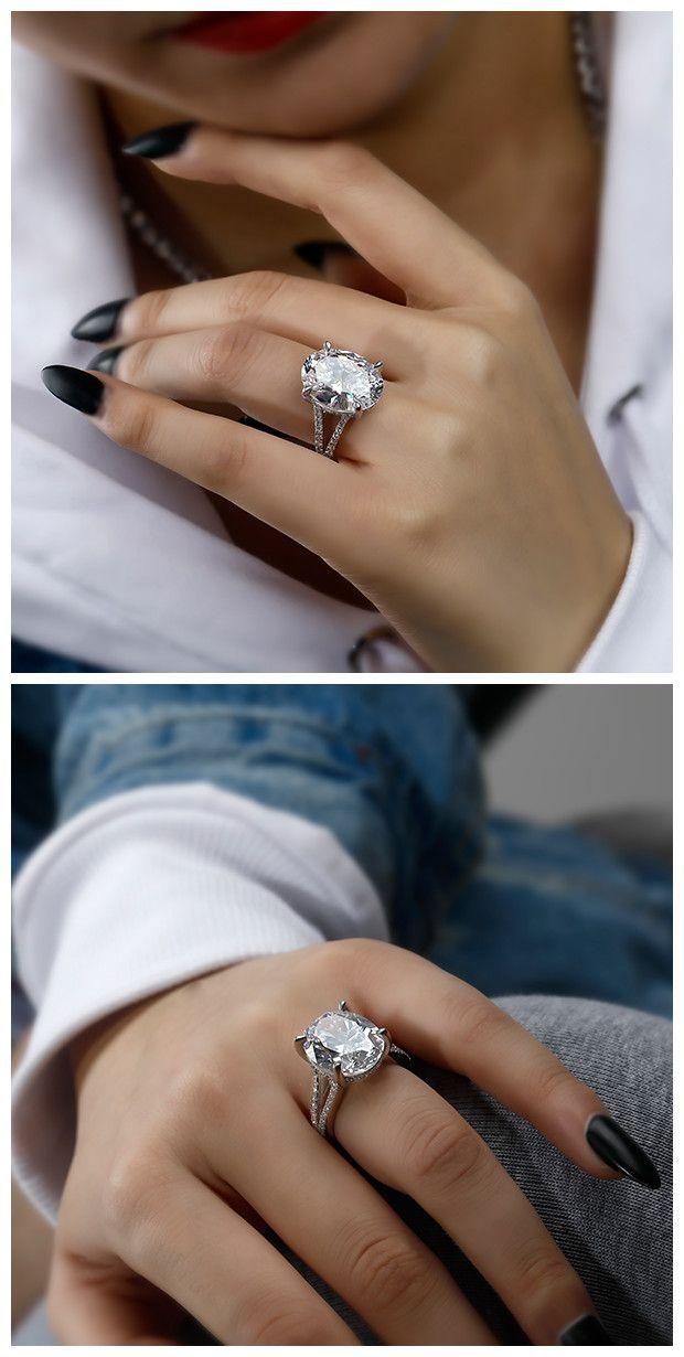 Giant Engagement Ring White Sapphire Engagement White Sapphire Enga In 2020 Giant Engagement Ring White Sapphire Engagement Ring Oval Engagement Ring Split Shank