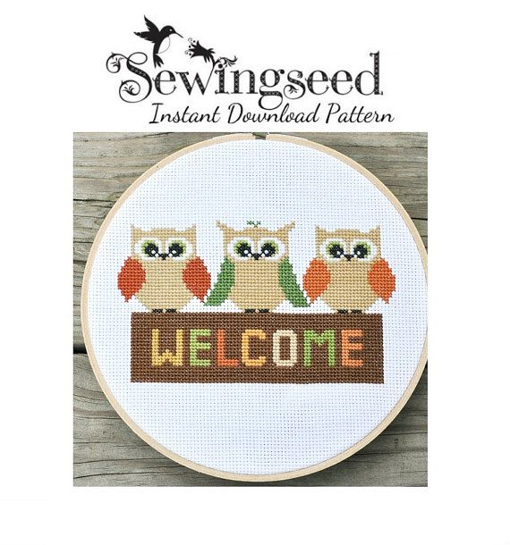 Owl Welcome Cross Stitch Pattern Instant Download
