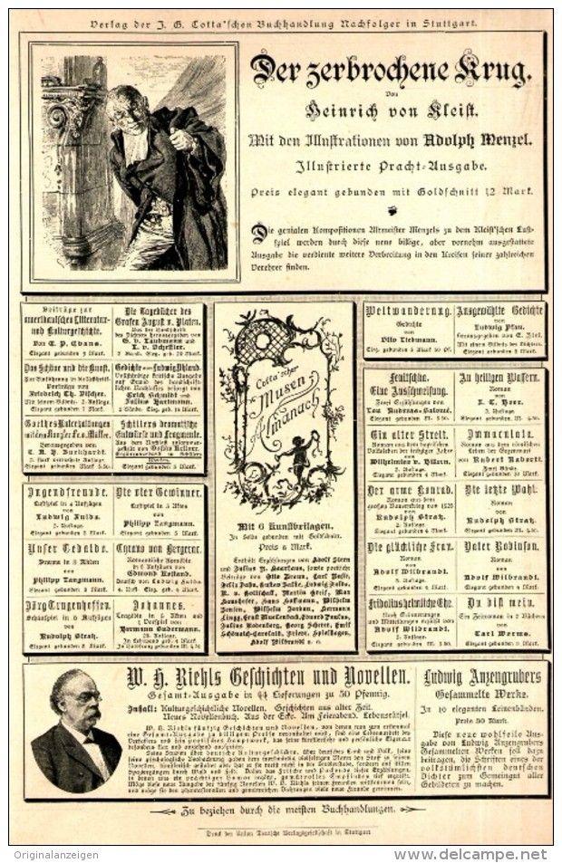 Original-Werbung/ Anzeige 1898 - 1/1 SEITE : COTTA´SCHE BUCHHANDLUNG STUTTGART…