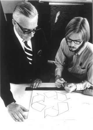 Gary Anderson, creator of the recycling symbol; click through for the history of its creation. (Pic courtesy of Gary Anderson via Waste & Recycling News)